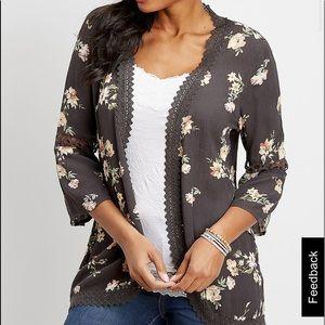floral open front crochet trim kimono NWT medium